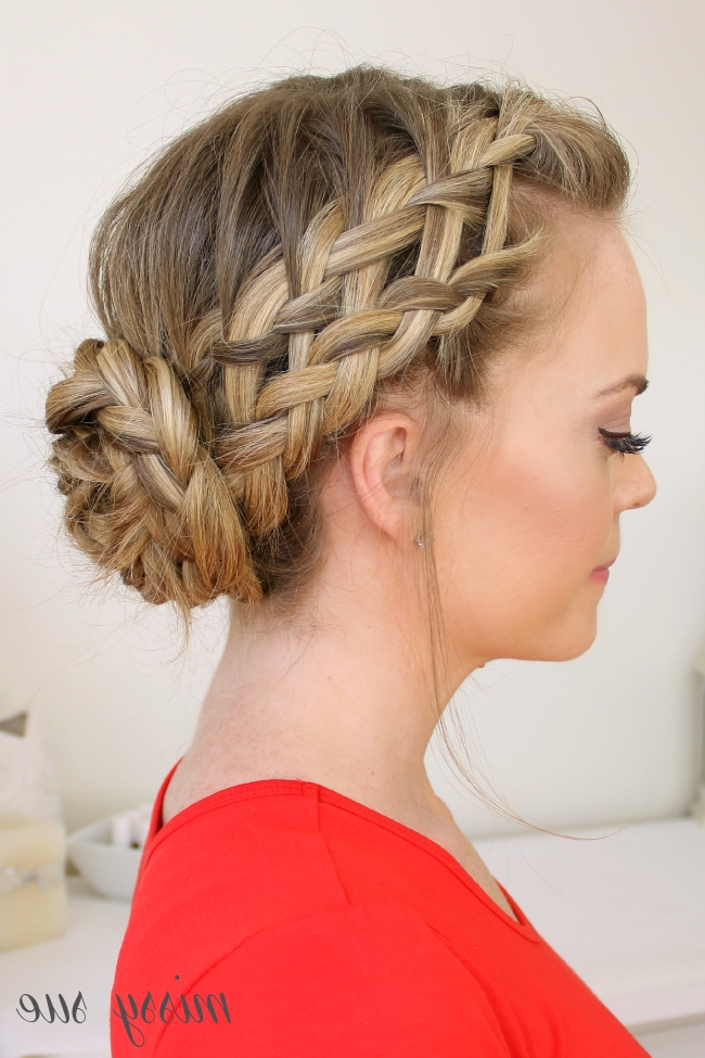 Waterfall, Dutch, French Braided Bun With Newest Braided Bun With Two French Braids (View 5 of 15)