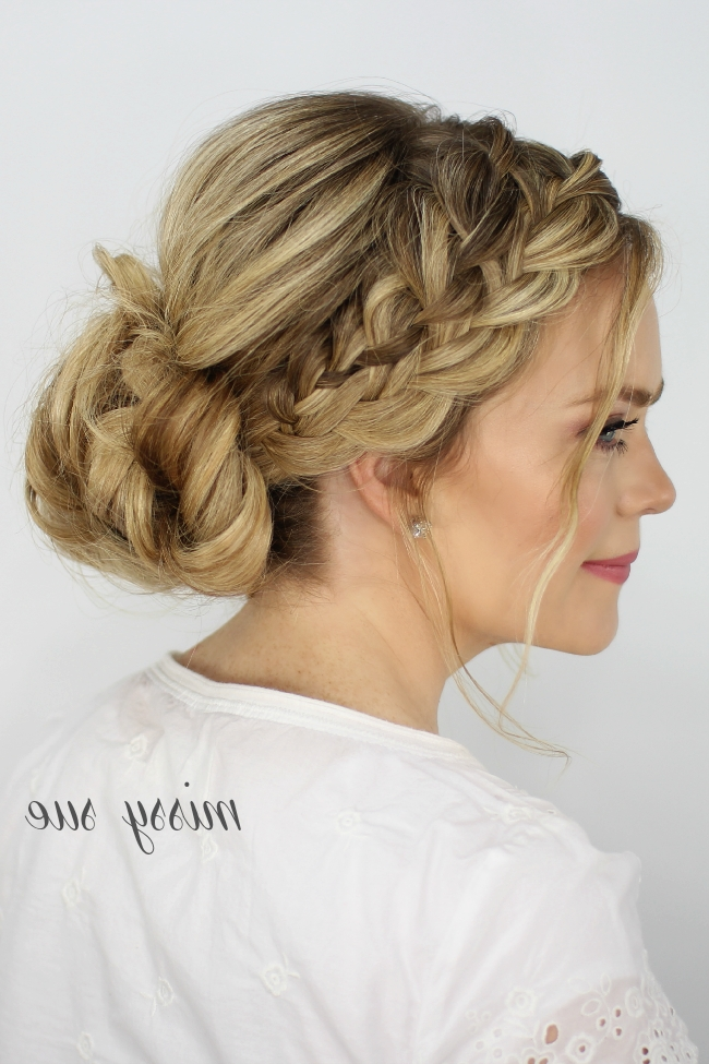 Waterfall French Braid Messy Bun Throughout Most Up To Date Messy Double Braid Hairstyles (View 15 of 15)
