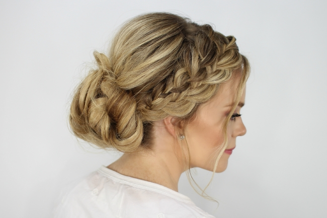 Waterfall French Braid Messy Bun With Regard To Current Braid Hairstyles To Messy Bun (View 3 of 15)