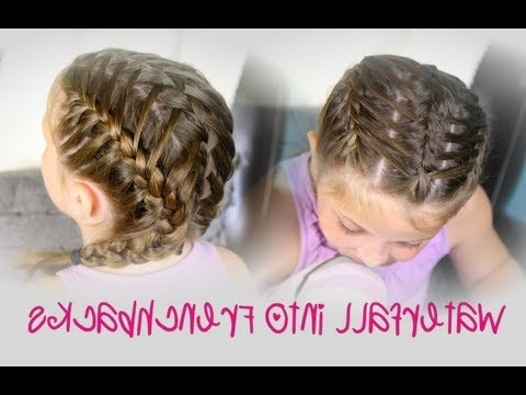 Waterfall Into Double Frenchbacks | Sport Hairstyles – Youtube With Latest Zipper Braids With Small Bun (View 8 of 15)