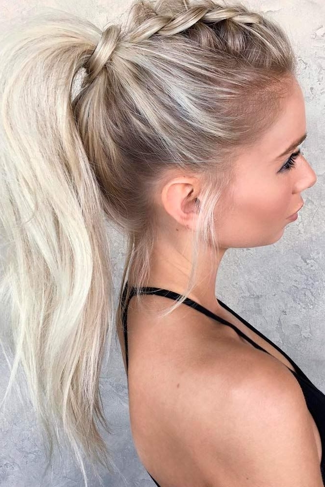 Wear These 36 Sporty Ponytail Hairstyles To The Gym | Hairstyles For Latest Pair Of Braids With Wrapped Ponytail (View 12 of 15)