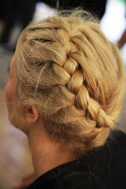 Wedding Hairstyles & Bridal Hair Ideas 2018 | Glamour Uk Inside Most Up To Date Updo With Forward Braided Bun (View 11 of 15)