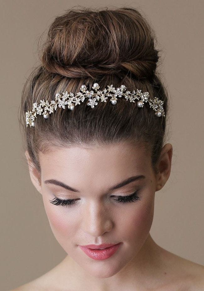Wedding Hairstyles Ideas: High Small Bun Updo Hairstyles For Long Throughout Newest Large High Bun With A Headband (View 5 of 15)