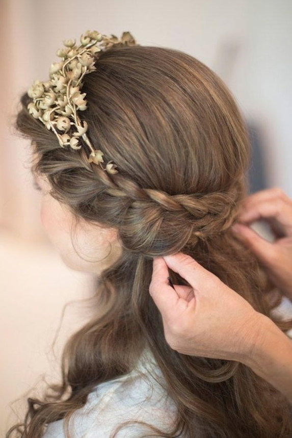 Wedding Hairstyles | Tulle & Chantilly Wedding Blog Throughout Recent Half Updo Braids Hairstyles With Accessory (View 3 of 15)