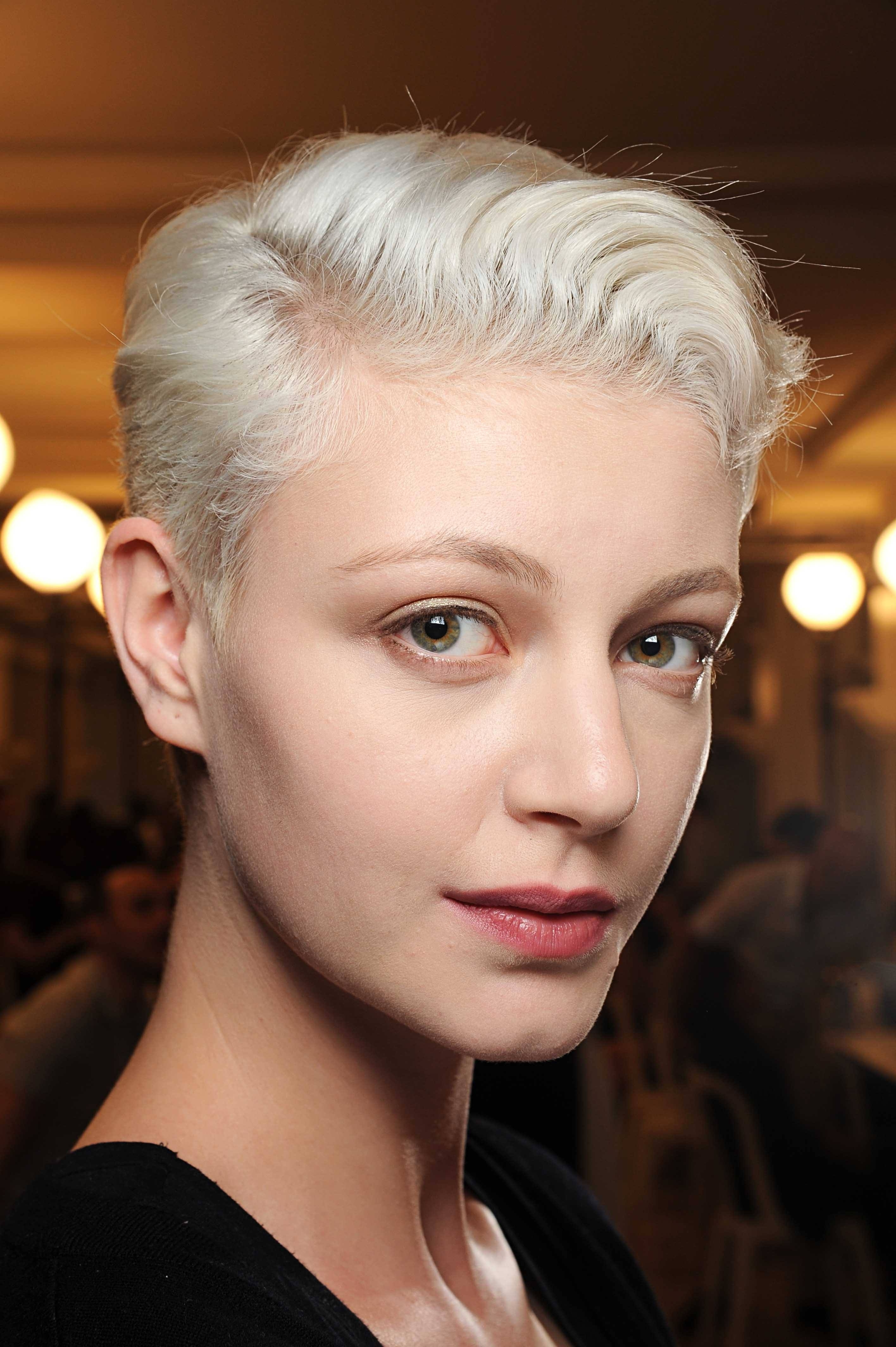 White Bleach Blonde Hair Short Pixie Armani Prive Aw Indigital Throughout Most Recently Bleach Blonde Pixie Haircuts (View 7 of 15)