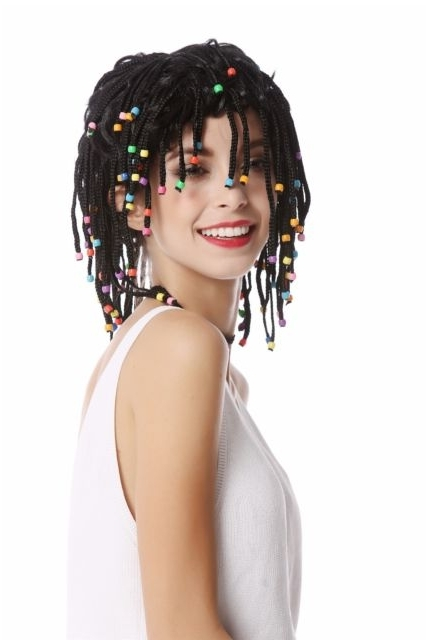 Wig Unisex Braided Pigtails Beads Black Afro Caribbean Rasta Hippie Within Most Up To Date Braided Pigtails (View 13 of 15)