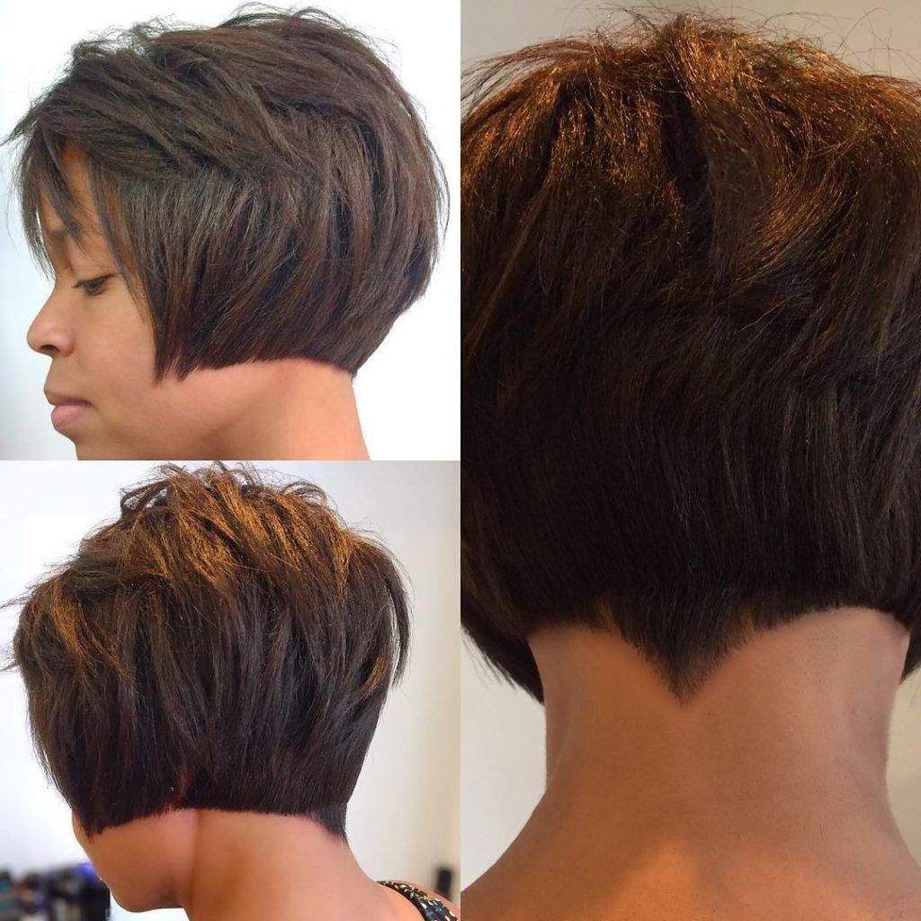 2018 Latest Stacked Pixie Haircuts With V Cut Nape