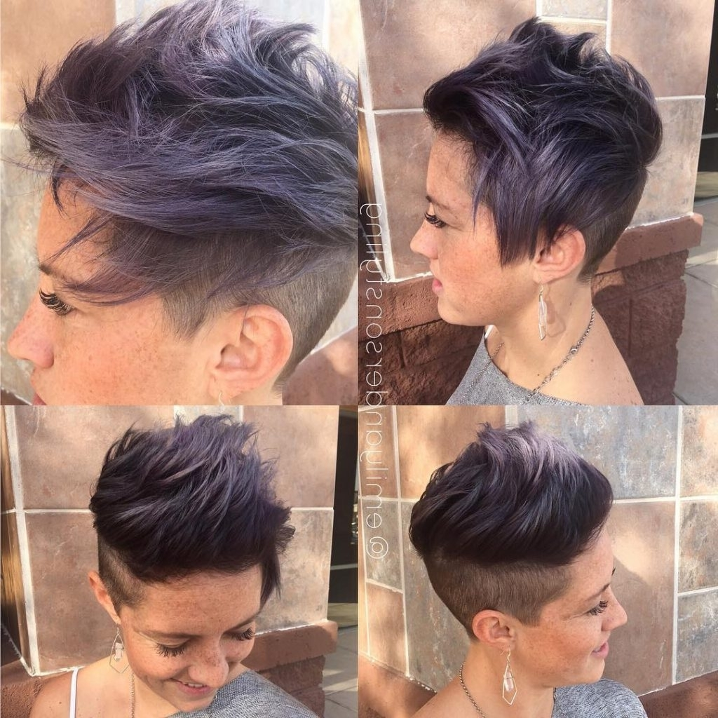 Women's Messy Brushed Up Undercut With Smoky Violet Color Short Within Best And Newest Tousled Pixie With Undercut (View 3 of 15)
