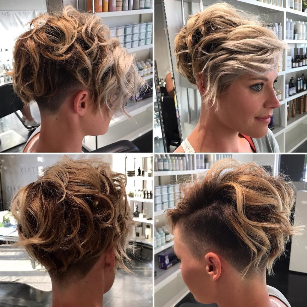 Women\u0027s Messy Wavy Textured Blonde Undercut Pixie Short Hairstyle Intended  For Most Recently Undercut Blonde Pixie