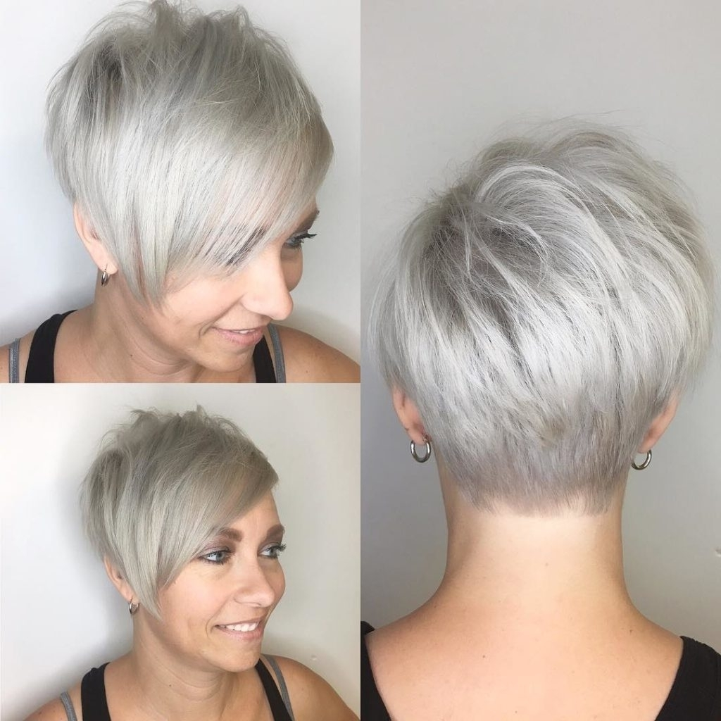 Women's Polished Platinum Asymmetrical Textured Pixie With Side With Regard To Most Current Long Tapered Pixie Haircuts With Side Bangs (View 3 of 15)