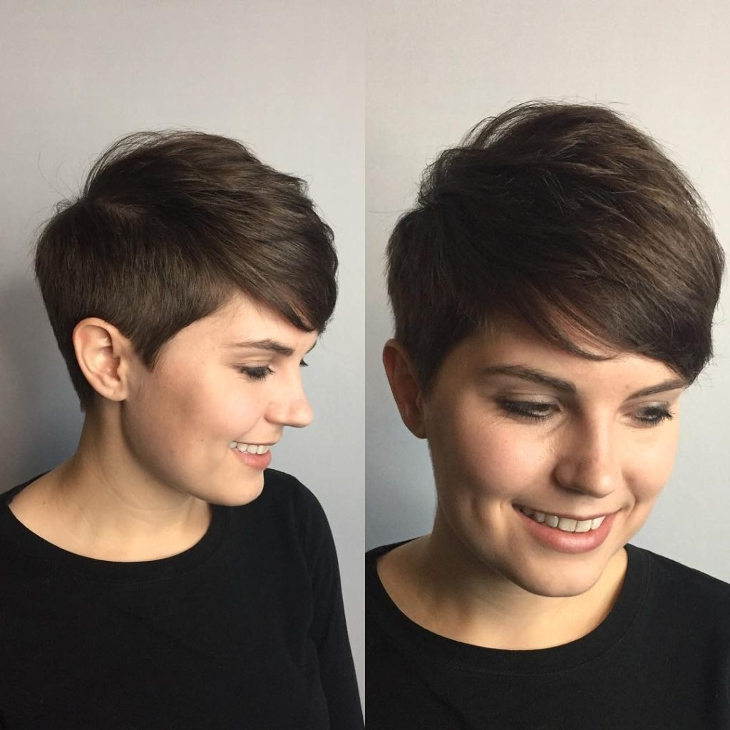 Women's Polished Tapered Pixie With Voluminous Texture And Side With Newest Long Tapered Pixie Haircuts With Side Bangs (View 8 of 15)