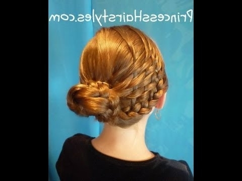 Woven Bun, Basket Weave Braid Updo Hairstyles – Youtube Throughout Recent Braided Hairstyles For Dance Recitals (View 10 of 15)