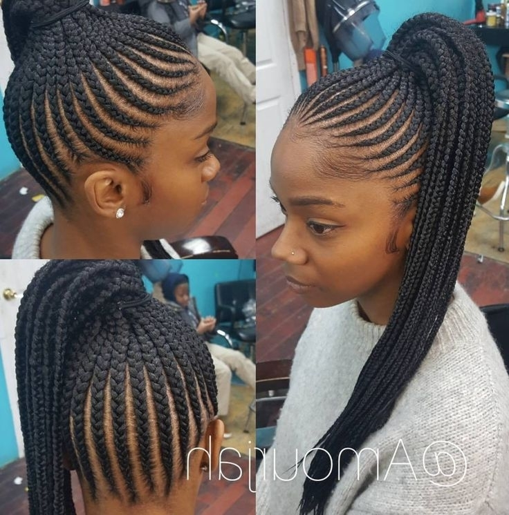 Yellow Hair Colours In Consort With Braided Ponytail Hairstyles For Inside Most Popular Braided Hairstyles Into A Ponytail With Weave (View 9 of 15)