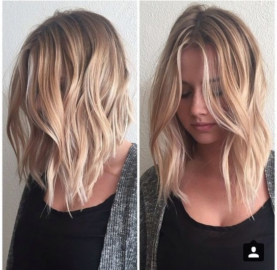 10 Balayage Hairstyles For Shoulder Length Hair: Medium Haircut 2018 Throughout Brown Blonde Balayage Lob Hairstyles (View 1 of 25)