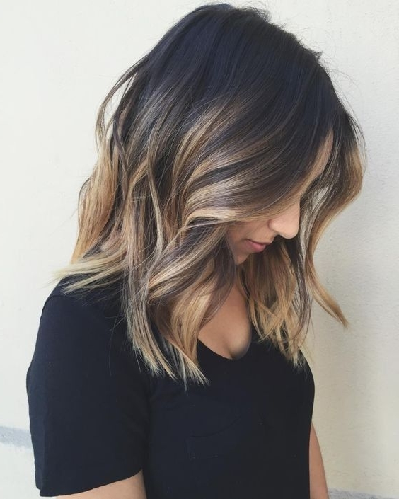 10 Balayage Hairstyles For Shoulder Length Hair: Medium Haircut 2018 Throughout Dark And Light Contrasting Blonde Lob Hairstyles (View 1 of 25)