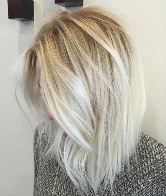 10 Balayage Hairstyles For Shoulder Length Hair: Medium Haircut 2018 Within Dark Blonde Into White Hairstyles (View 10 of 25)