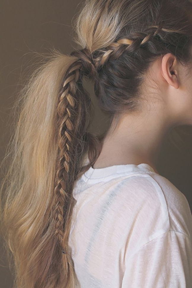 Featured Photo of Braided Millennial Pink Pony Hairstyles
