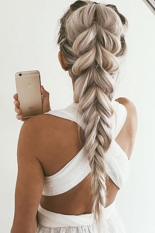 10 Cute Braided Hairstyle Ideas: Stylish Long Hairstyles 2018 With Chunky Ponytail Fishtail Braid Hairstyles (View 3 of 25)
