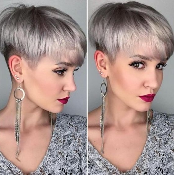 10 Easy, Women Short Hairstyles Inspiration 2018: Stylish Pixie Hair Pertaining To Short Silver Crop Blonde Hairstyles (View 17 of 25)
