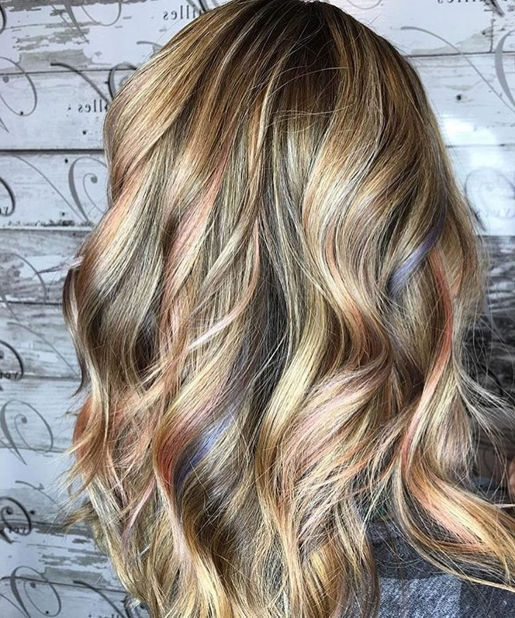 10 Exciting Medium Length Layered Haircuts In Fab New Colors Pertaining To Pearl Blonde Bouncy Waves Hairstyles (View 22 of 25)