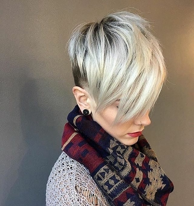 10 Fab Short Hairstyles With Texture & Color, 2018 Women Short Haircuts Within 2018 Ash Blonde Pixie Hairstyles With Nape Undercut (View 4 of 25)