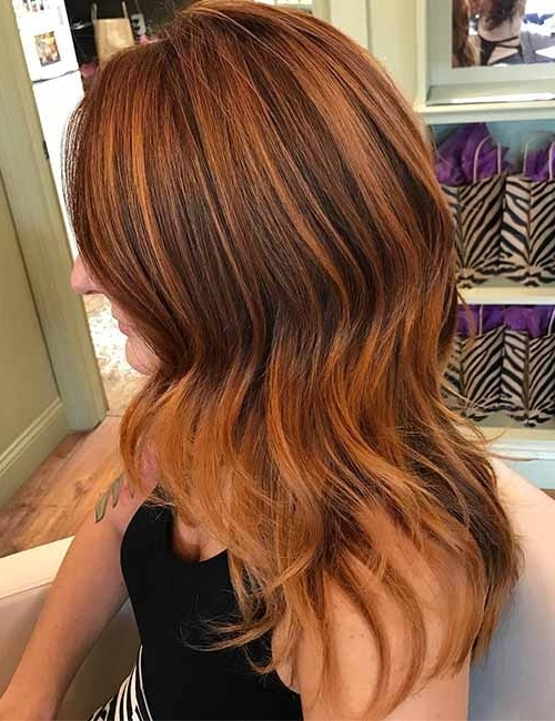 10 Highlights And Lowlights Styling Ideas For Light Brown Hair Within Light Copper Hairstyles With Blonde Babylights (View 8 of 25)