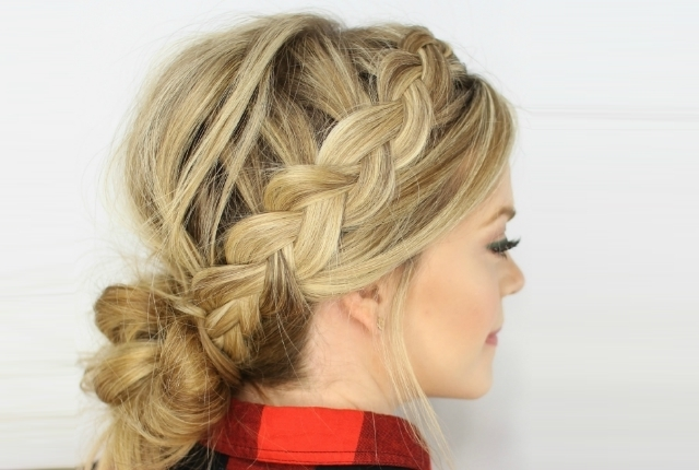 10 Incredible Latest Bun Hairstyles For Women | Womensok For Messy Ponytail Hairstyles With A Dutch Braid (View 14 of 25)
