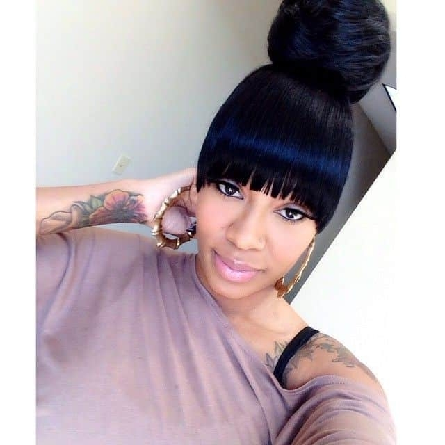10 Popular Weave Ponytail Hairstyle With Bangs With Sleek Pony Hairstyles With Thick Side Bangs (View 1 of 25)