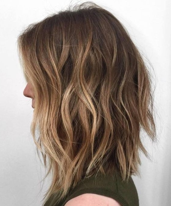 10 Pretty Layered Medium Hairstyles: Women Shoulder Hair Cuts 2018 Intended For Brown Blonde Balayage Lob Hairstyles (View 3 of 25)