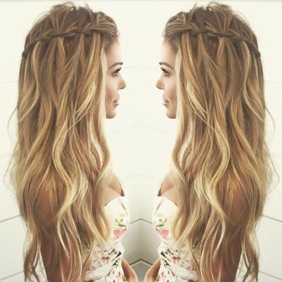 10 Pretty Waterfall French Braid Hairstyles: Different Hairstyle Intended For Wavy And Braided Hairstyles (View 3 of 25)