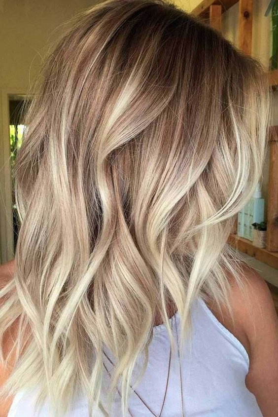10 Trendy Medium Hairstyles & Top Color Designs, 2018 Medium Haircut Intended For Multi Tonal Mid Length Blonde Hairstyles (View 5 of 25)