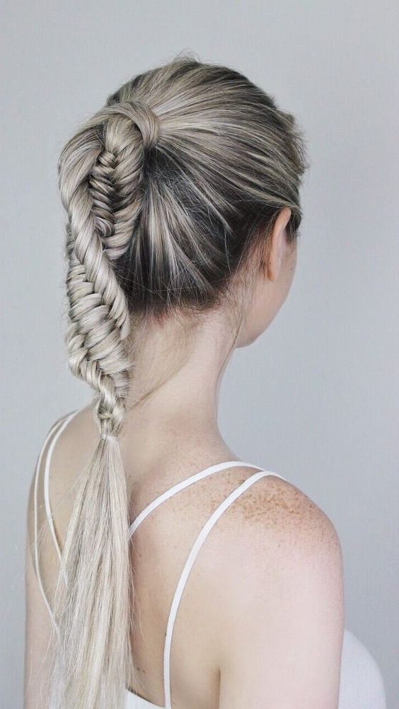 10 Ultra Ponytail Braided Hairstyles For Long Hair; Parties! 2018 In Pony Hairstyles With Textured Braid (View 1 of 25)