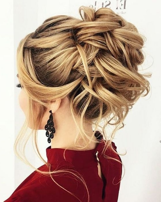 10 Updos For Medium Length Hair From Top Salon Stylists, 2018 Prom Updo Throughout Half Updo Blonde Hairstyles With Bouffant For Thick Hair (View 20 of 25)