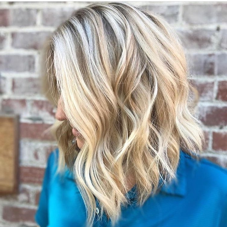 10 Wavy Lob Hair Styles – Color & Styling Trends Right Now! In Icy Waves And Angled Blonde Hairstyles (View 2 of 25)