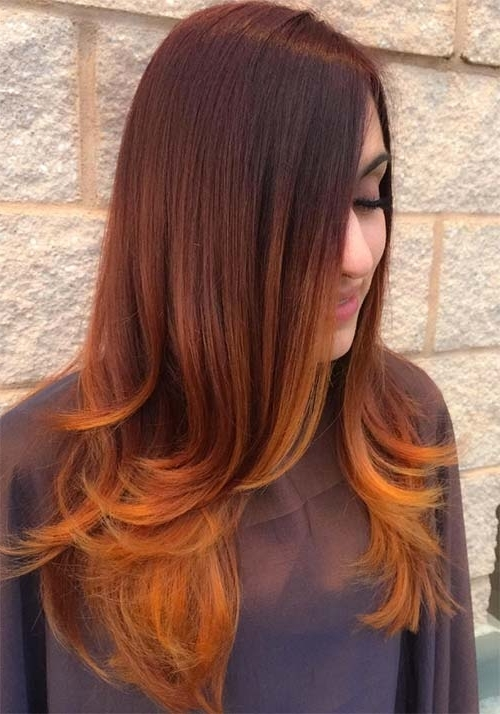 100 Badass Red Hair Colors: Auburn, Cherry, Copper, Burgundy Hair Pertaining To Grown Out Balayage Blonde Hairstyles (View 1 of 25)