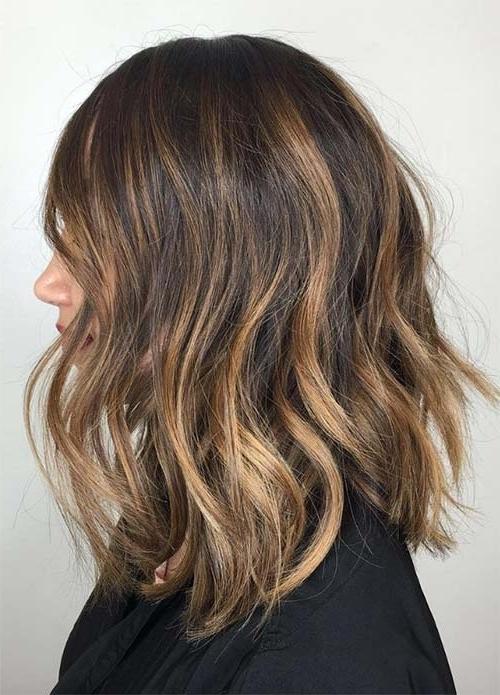 100 Dark Hair Colors: Black, Brown, Red, Dark Blonde Shades Regarding Brown Blonde Balayage Lob Hairstyles (View 14 of 25)