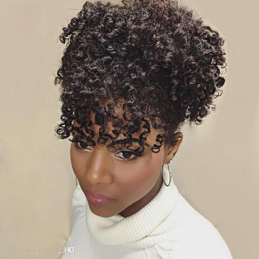 100% Human Hair Kinky Curly Drawstring Ponytail For Black Women Afro Throughout Highlighted Afro Curls Ponytail Hairstyles (View 9 of 25)