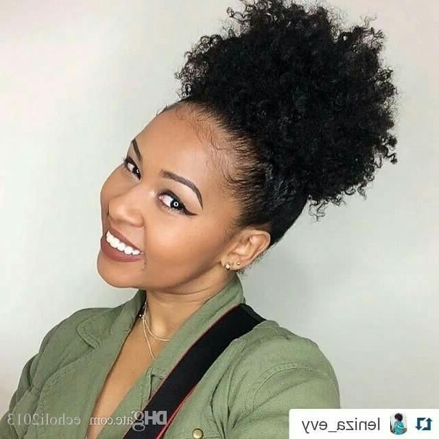 100 Human Hair Topper Natural Kinky Curly Short Afro Puff Drawstring For Curly Blonde Afro Puff Ponytail Hairstyles (View 3 of 25)