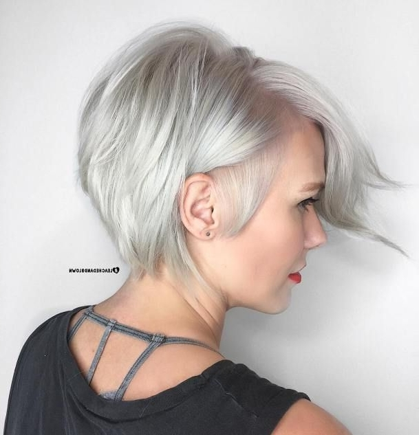 Featured Photo of Side Parted Silver Pixie Bob Hairstyles