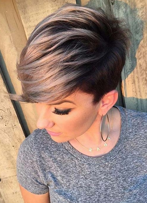 100 Short Hairstyles For Women: Pixie, Bob, Undercut Hair | Fashionisers Pertaining To Most Up To Date Reverse Gray Ombre Pixie Hairstyles For Short Hair (View 16 of 25)