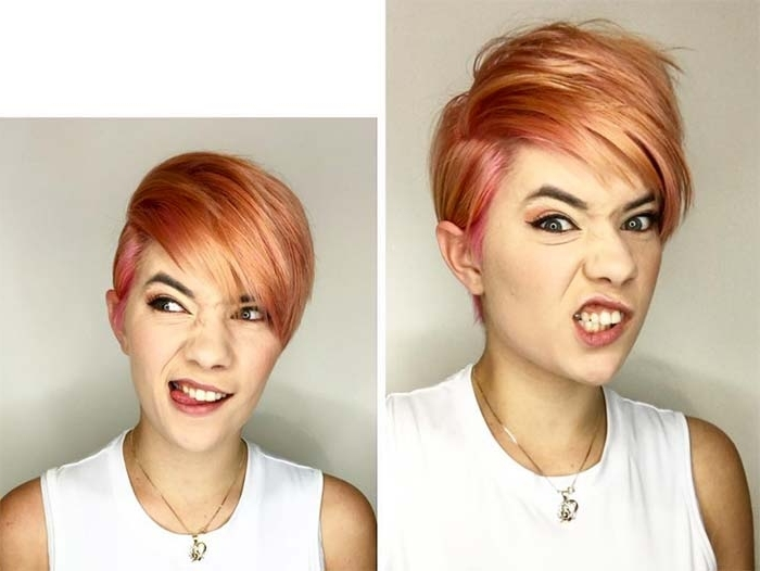 100 Short Hairstyles For Women: Pixie, Bob, Undercut Hair | Fashionisers Within Most Popular Rose Gold Pixie Hairstyles (View 20 of 25)