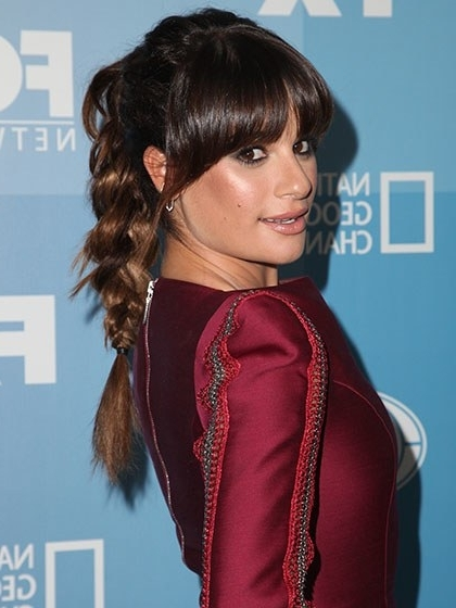 11 Ways To Update Your Ponytail This Summer | Allure Regarding Brunette Ponytail Hairstyles With Braided Bangs (View 2 of 25)
