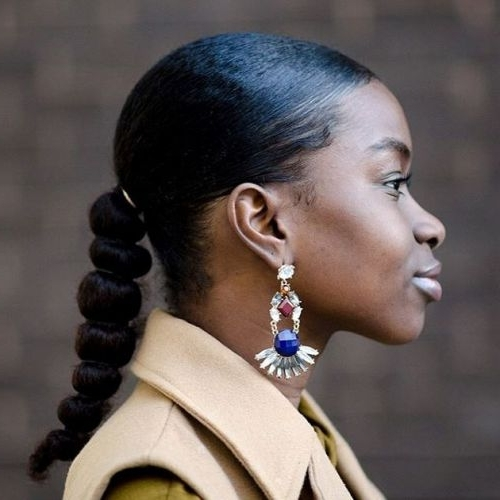 12 Gorgeous Must See Bubble Ponytail Styles On Natural Hair Within Sleek Bubble Ponytail Hairstyles (View 3 of 25)