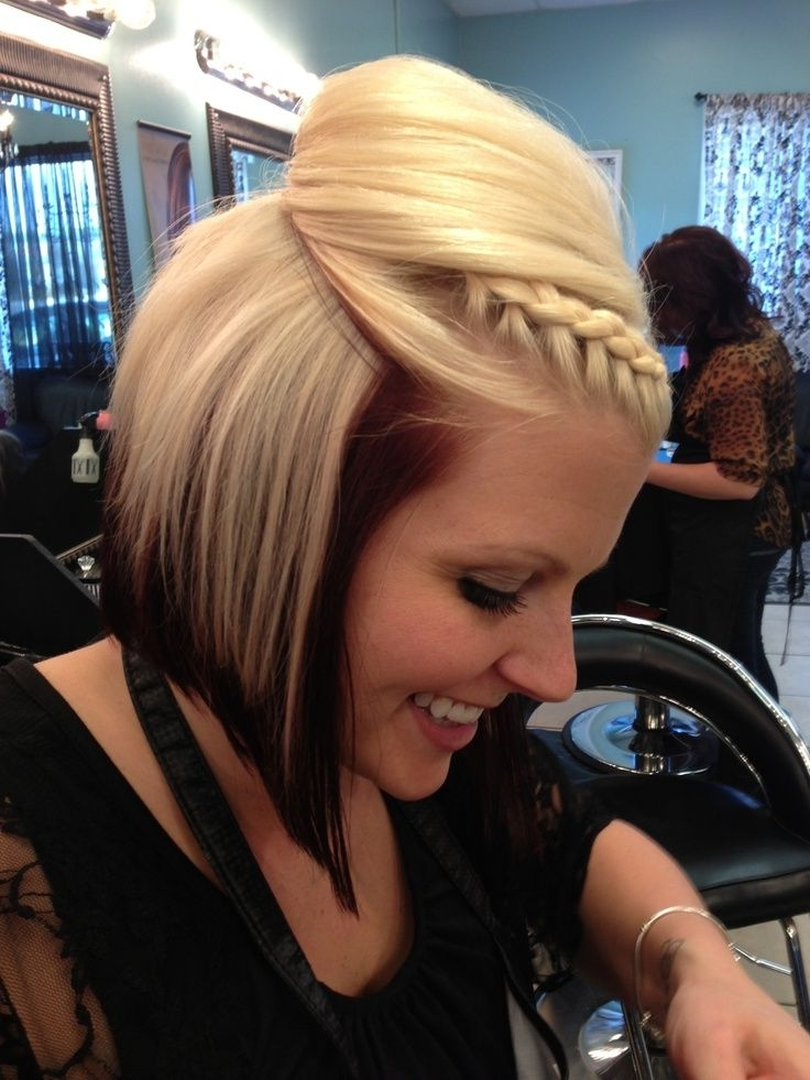 12 Pretty Braided Hairstyles For Short Hair – Pretty Designs Regarding Brunette Ponytail Hairstyles With Braided Bangs (View 3 of 25)