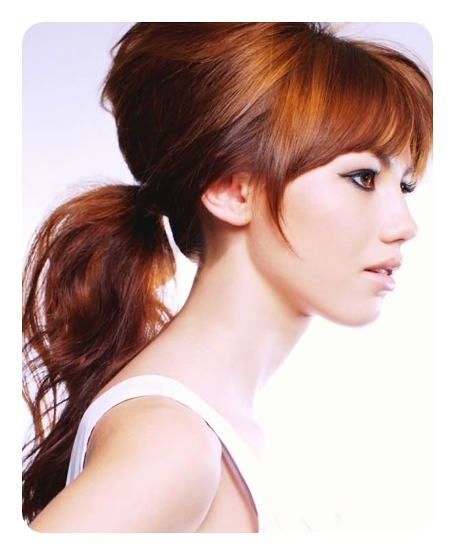 120 Fascinating Ponytail With Bangs To Cherish On Pertaining To Low Loose Pony Hairstyles With Side Bangs (View 18 of 25)
