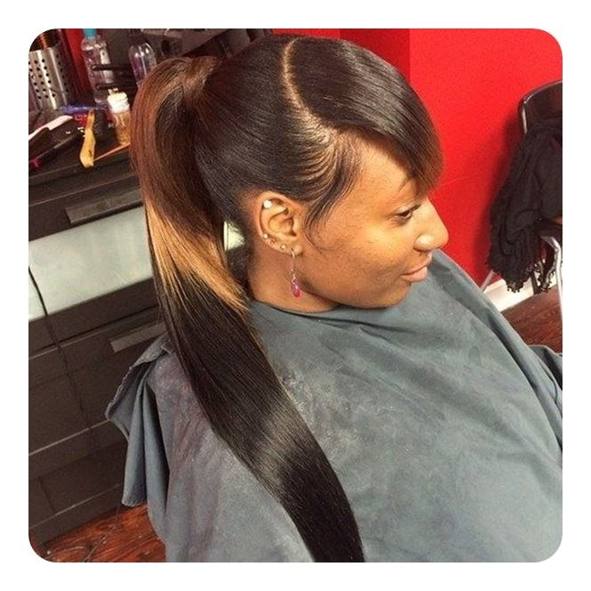 120 Fascinating Ponytail With Bangs To Cherish On With Weaved Polished Pony Hairstyles With Blunt Bangs (View 10 of 25)