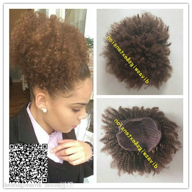120G Brown Afro Kinky Curly Weave Ponytail Hairstyles Clip Ins Pertaining To Natural Curly Pony Hairstyles With Bangs (View 18 of 25)