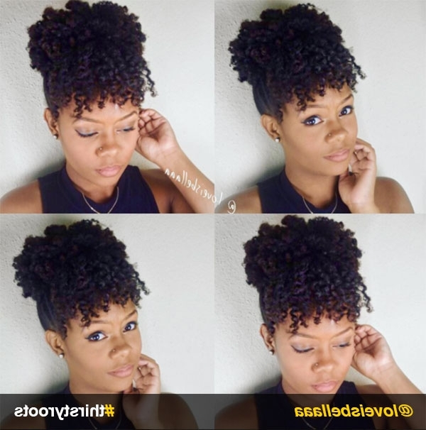 13 Natural Hair Updo Hairstyles You Can Create Intended For Natural Curly Pony Hairstyles With Bangs (View 3 of 25)