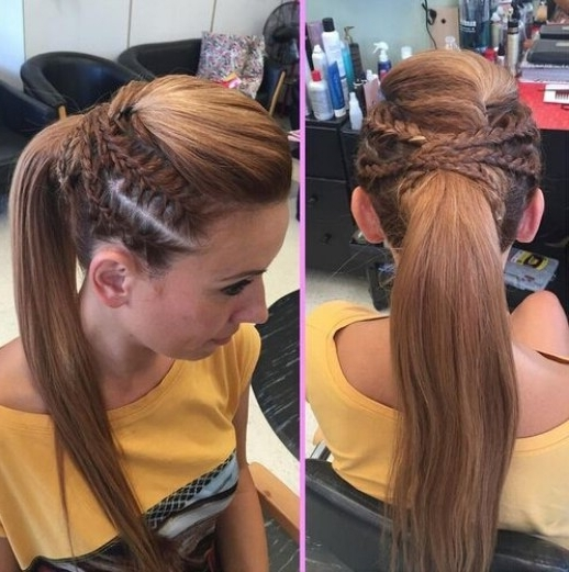 15 Adorable French Braid Ponytails For Long Hair – Popular Haircuts In Three Braids To One Ponytail Hairstyles (View 6 of 25)