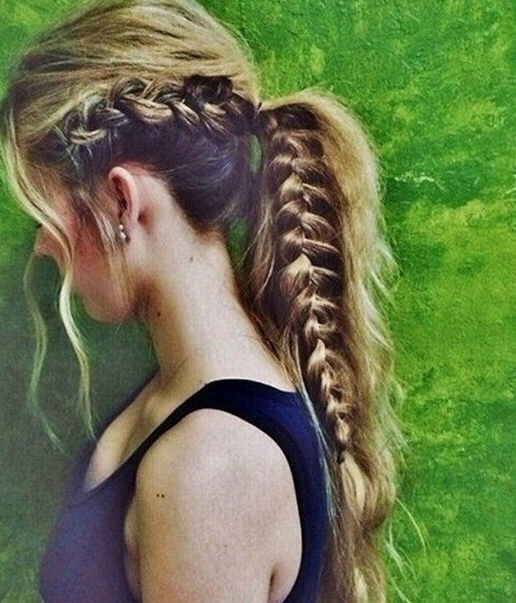 15 Adorable French Braid Ponytails For Long Hair – Popular Haircuts Pertaining To Trendy Ponytail Hairstyles With French Plait (View 2 of 25)